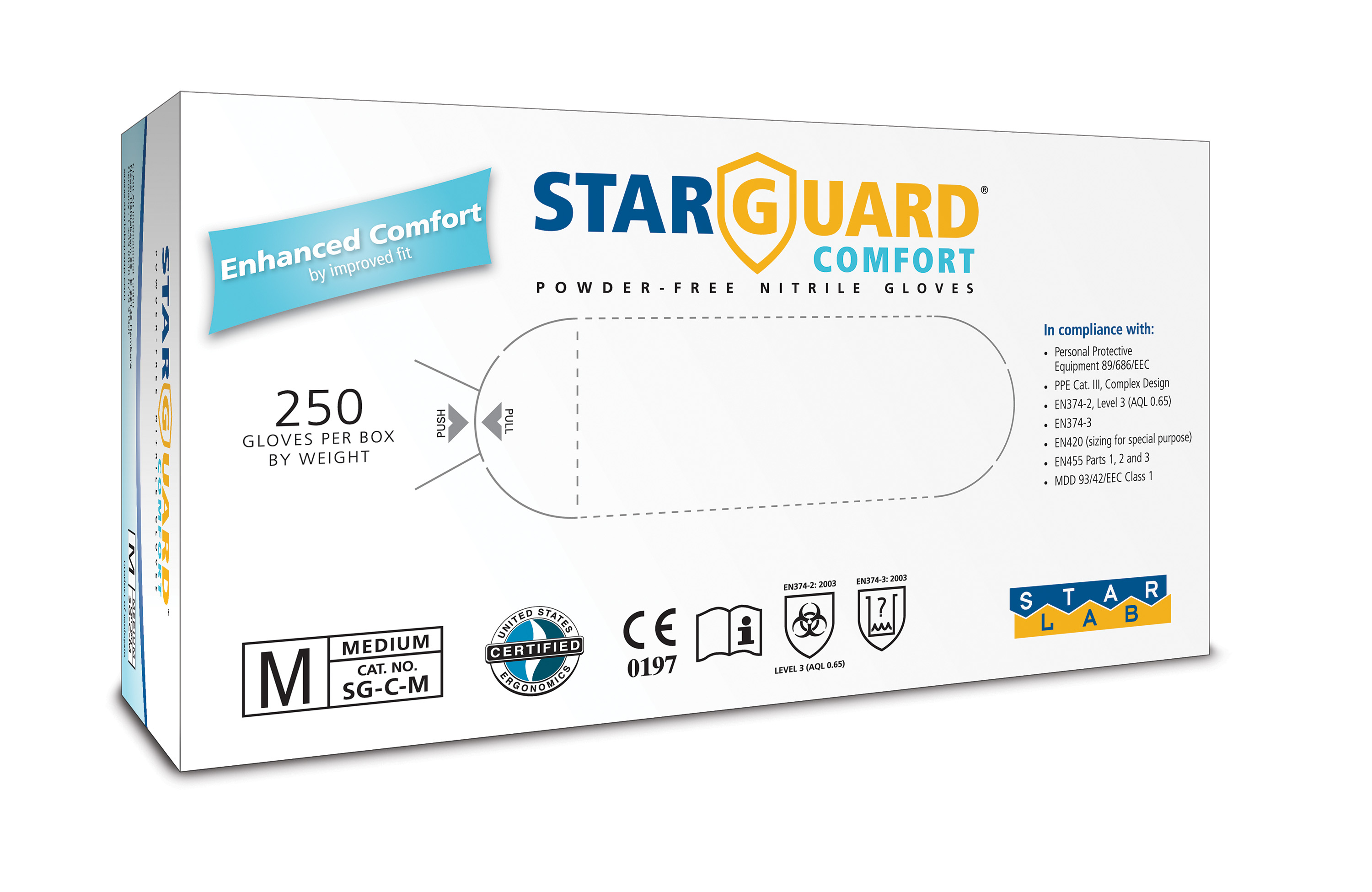 StarGuard COMFORT  (feels like Latex) Nitrile Gloves, Powder Free, Blue, Size M, Pk/ 10 x 250 gloves