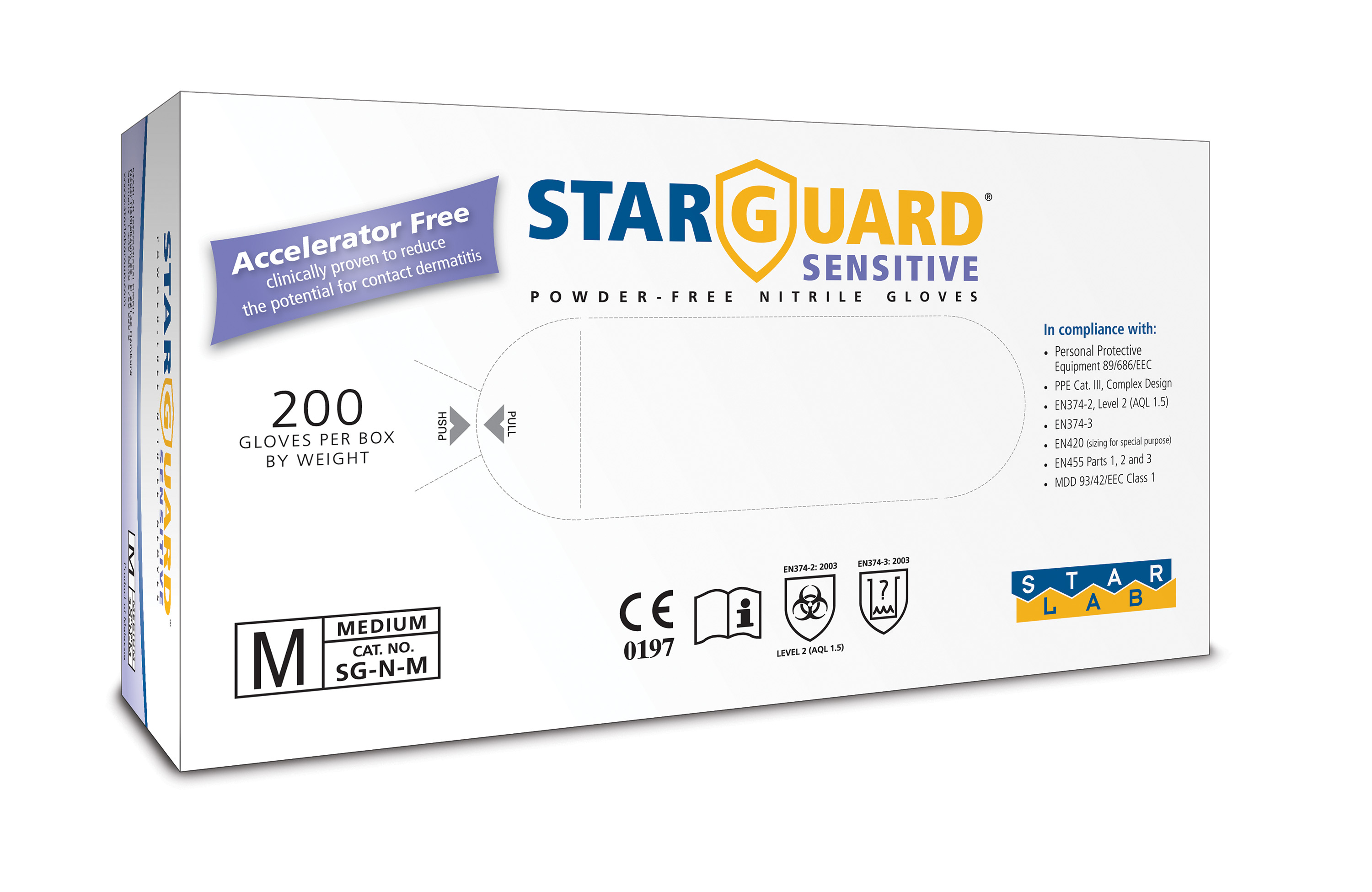 StarGuard SENSITIVE Nitrile Gloves, Powder Free, Blue, Size M, Pk/ 10 x 200 gloves